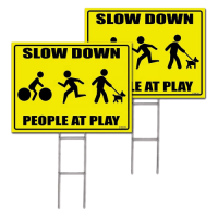 Plastic pp corrugated road slow down yard sign